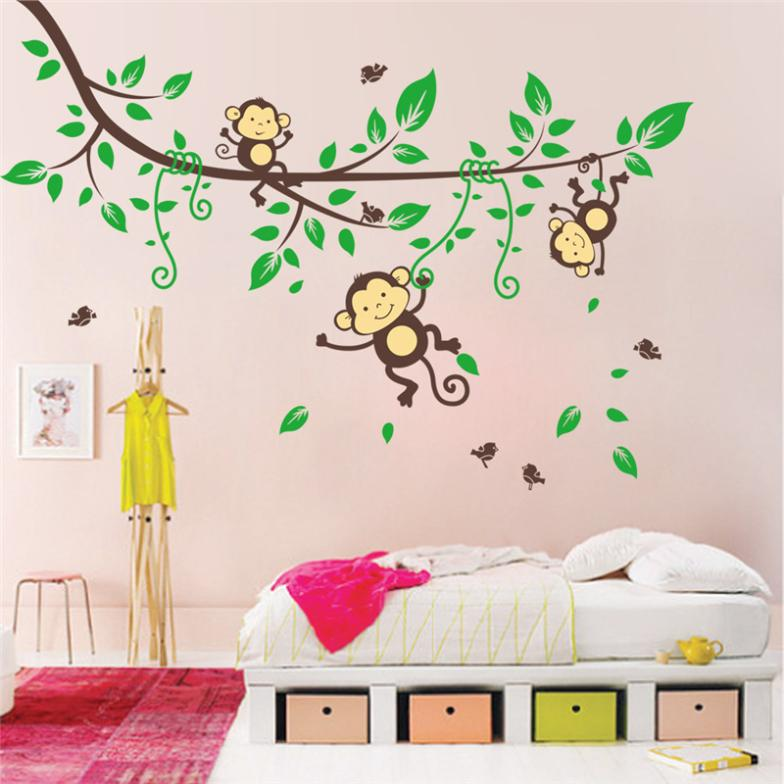 Hot selling originele aap boom muur arts nr 1205 cartoon muurstickers voor kinderkamer dier - Room muur van de baby ...