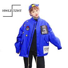 2017 Loosen Harajuku Cotton Epaulet Bomber Jacket Women Long Letter Printed windbreak Coats Student Jacket Oversize Coats female(China (Mainland))