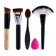 2 x Makeup Brushes+Powder Blush Foundation Brush+Sponge Puff + Contour Brush pincel maquiagem(China (Mainland))