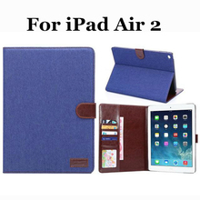 For Apple iPad Air 2 Case HQ Cowboy Jeans Denim Magnetic Folio PU Smart Leather Case Cover With Stand Holder For Apple iPad 6(China (Mainland))