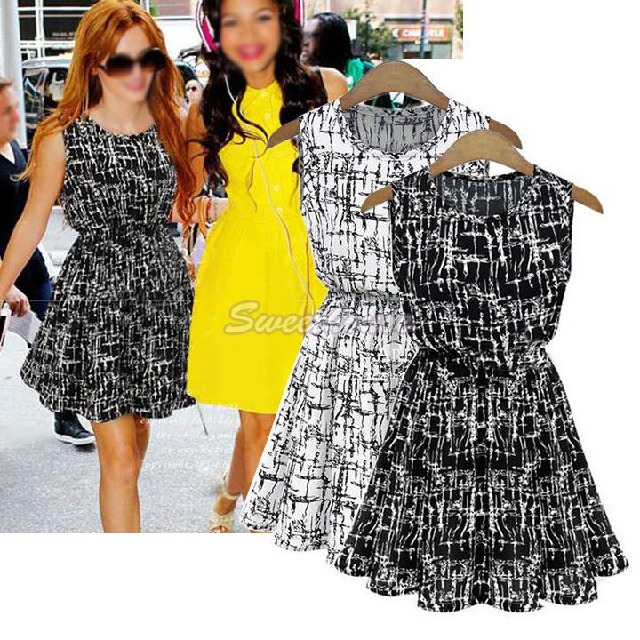 Платье шифон Mini без рукавов лето, черный белый женщины милый дамы женское завышенная талия вечернее Vestido S ~ XL 24
