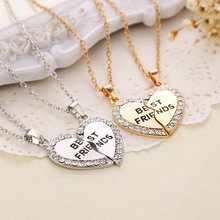 2015 New Charming Splice Heart Pendant Best Friend Letter Necklace Women Gifts 2 Color Pick Jewelry Free Shipping XL-008 (China (Mainland))