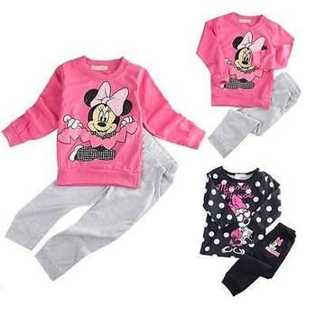 2016 Spring Autumn baby girls Sport clothing set 2pcs suit t shirt pants kids Cute mouse clothes sets
