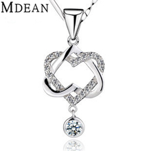 S925 Necklace Pendant white gold filled heart pendant necklaces engagement vintage accessories wedding jewelry JYA028