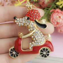 2016 Lovely Dog Motorcycle Biker Crystal Rhinestone Metal Bag Pendant Keyring Keychain For Car K183(China (Mainland))