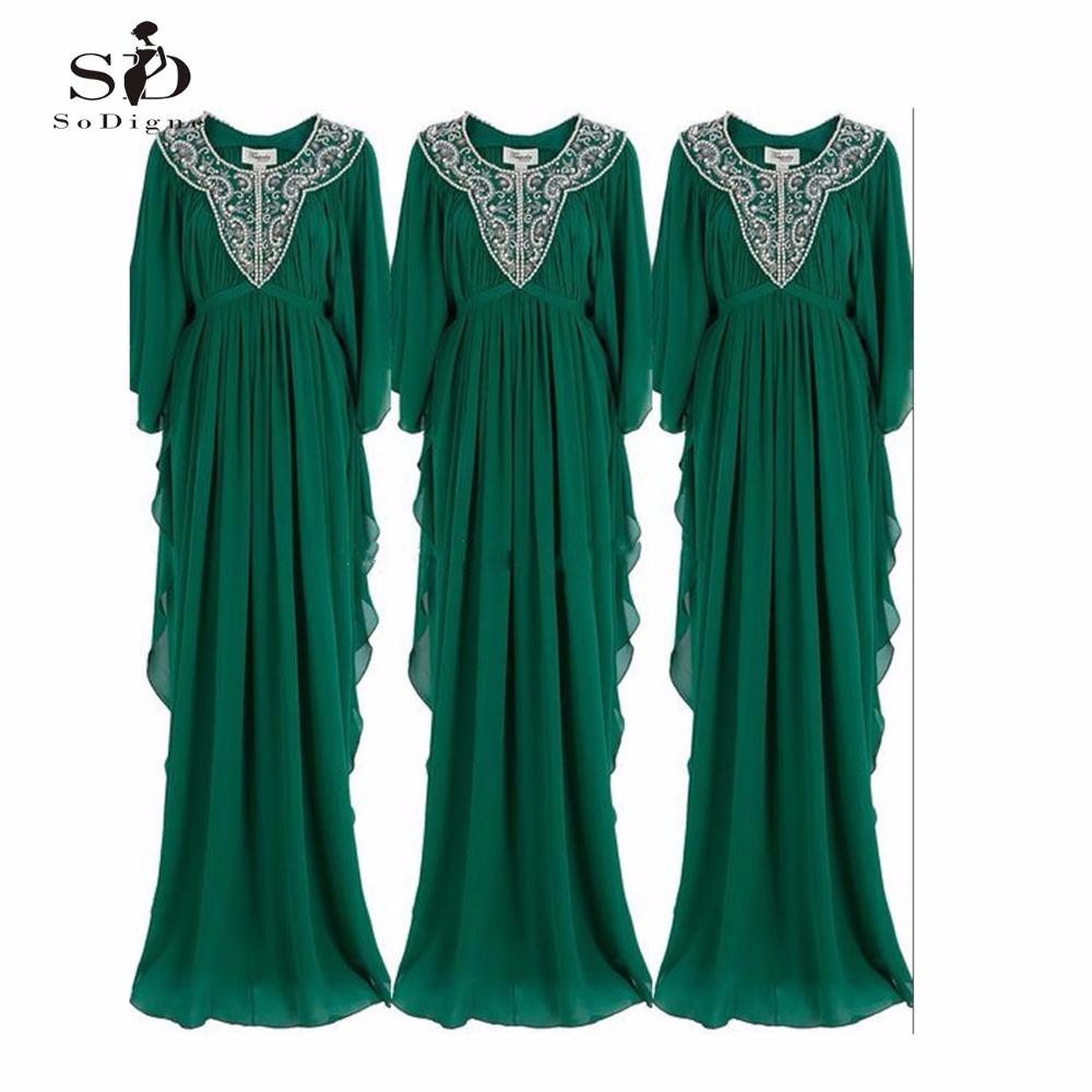 Green Dubai Kaftan Abaya 2017 SoDigne Cheap Long Sleeve Plus Size A Line Chiffon Beading Moroccan Kaftan Evening Party(China (Mainland))
