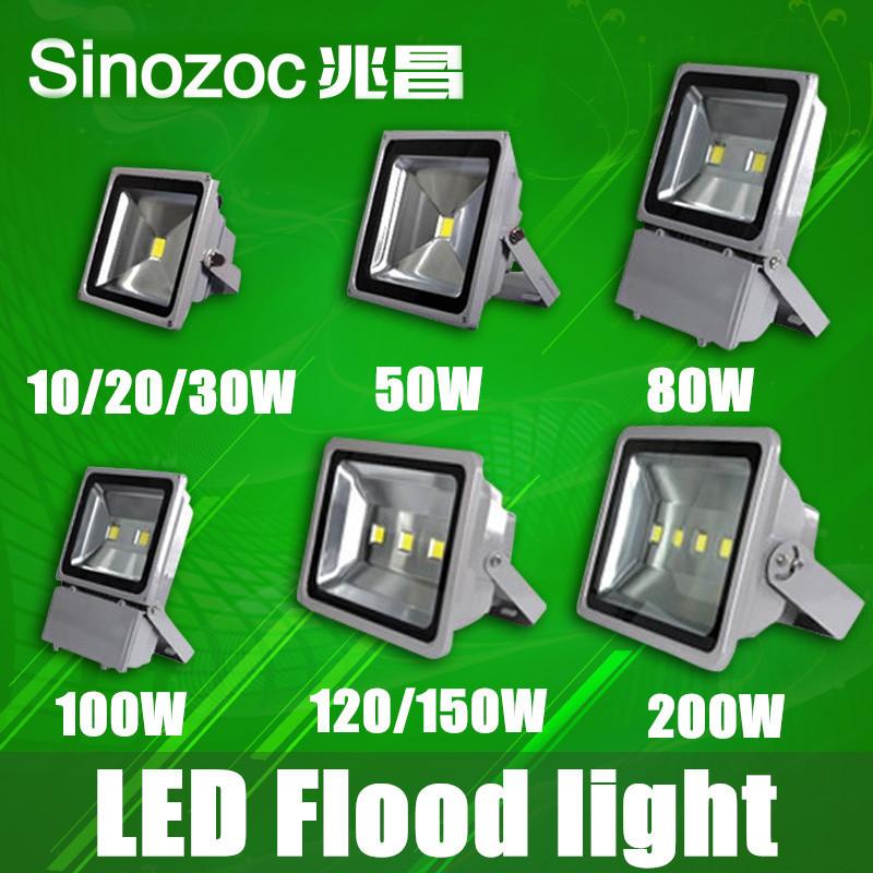 Freeshipping 10pcs/lot LED flood light 10W 20W 30W 50W 80W 100W 120W 150W 200W waterproof IP65 Spotlight floodlightings lighting(China (Mainland))