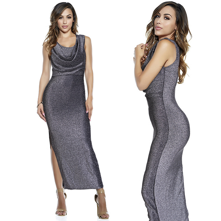 Bright Silk Sexy Slimming Party Club Womens Summer Dresses 2016 Summer Long Dress Have Bule/Silver/Gold/Red One Size(China (Mainland))