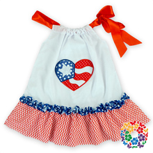 2 Heart Printed Baby Girls Puffy Dresses Woven Cotton 4th July Pillowcase Dress Sale - Yiwu City Yihon E-Commerce Firm store