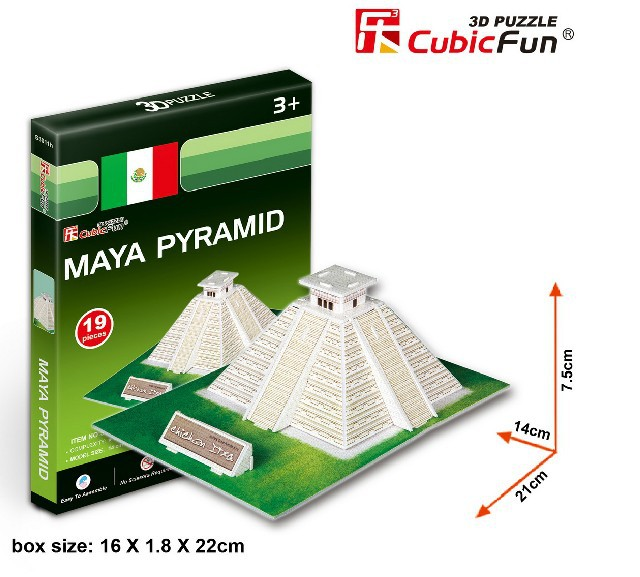 Free shipping Original CubicFun 3D puzzle Mini building model Maya Pyramid children's toys birthday gift(China (Mainland))
