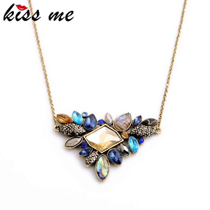 KISS ME Exquisite Rhinestone Pendant Necklace 2016 Wholesale Newest Fashion Thin Chain Collar Necklace Jewelry(China (Mainland))