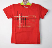 New 2016 Boys Girl T-shirt Letter Print Boy Top T-shirt  Clothes Red White Short-sleeved Costume Childrens Clothing Kids T shirt