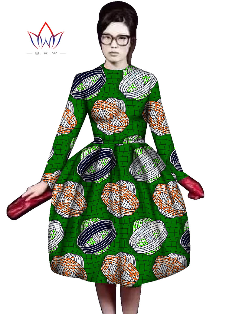 2016 Autumn African Clothing Traditional African Plus Size African Clothing Women Print Dresses Bazin Riche Elegant Dress WY451(China (Mainland))