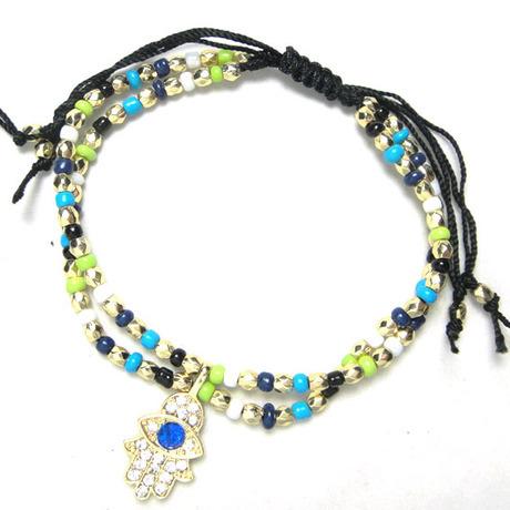 Bohemian Hamsa Hands/ Evil Eye Religion Symbol Bracelet Double Layer Sea Beads Line for Women 10pcs/lot Free Shipping(China (Mainland))