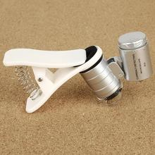 60X Universal del teléfono móvil Mini Clip Portable LED microscopio lupa De la lupa UV Detector De linterna Lupas De Aumento