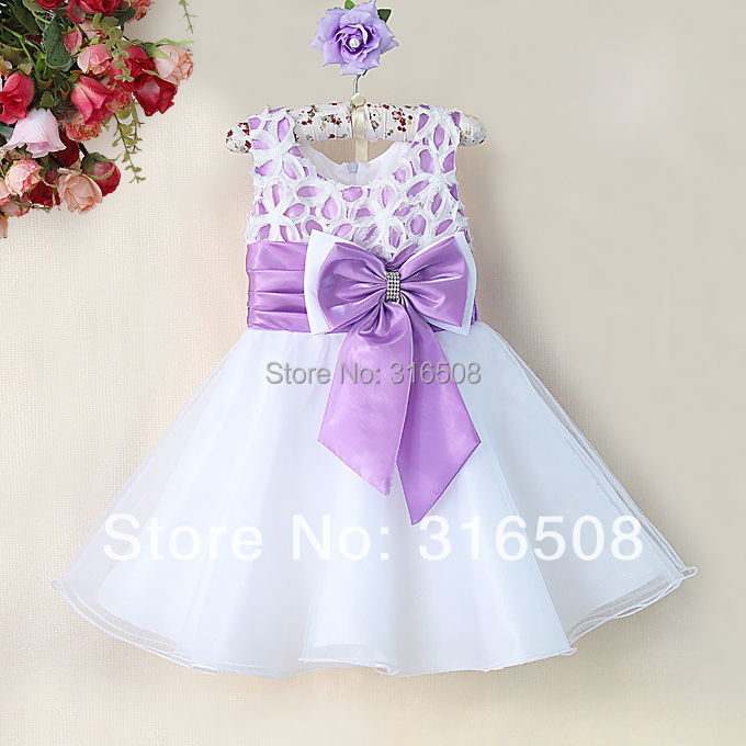 Free Shipping DHL New Fashion Infant Christmas Dress For Baby Girls White Polyesther Dresses White Pink Bows Baby Girls Wedding(China (Mainland))