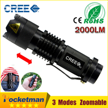 1pcs Portable Lighting Cree Q5  Led Flashlight 7W High Powe rMini Zoomable 3 Modes Waterproof Glare Torch 14500 /AA Bicycle(China (Mainland))