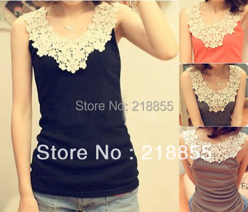 HOT!! Free Shipping Wholesale + Retail Women Sexy Cotton Tank Top Shirt Hollow-out Vest Waistcoat Camisole Pierced Lace 12Colors
