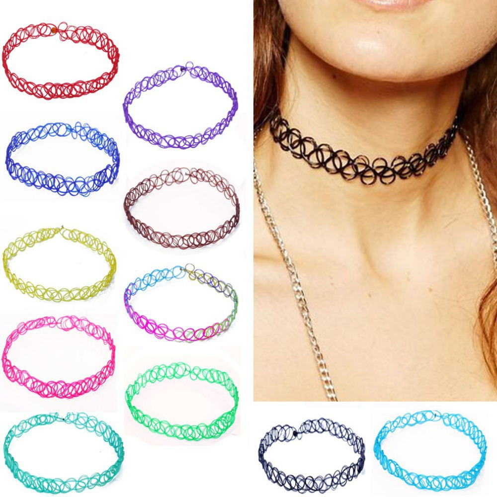 Hot Sale 100 Pcs 13 Color Women Vintage Stretch Tattoo Choker Necklace Gothic Punk Grunge Henna Elastic Weave Necklaces Collar(China (Mainland))