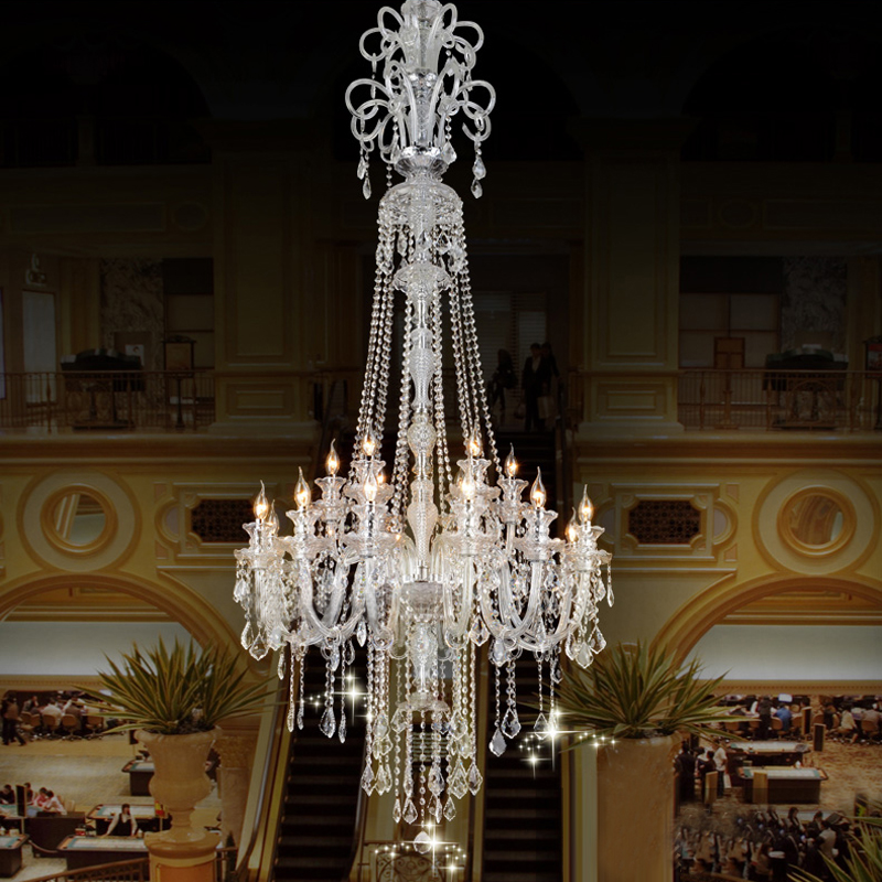Large candle chandelier big chandelier luxury crystal Crystal candle chandelier