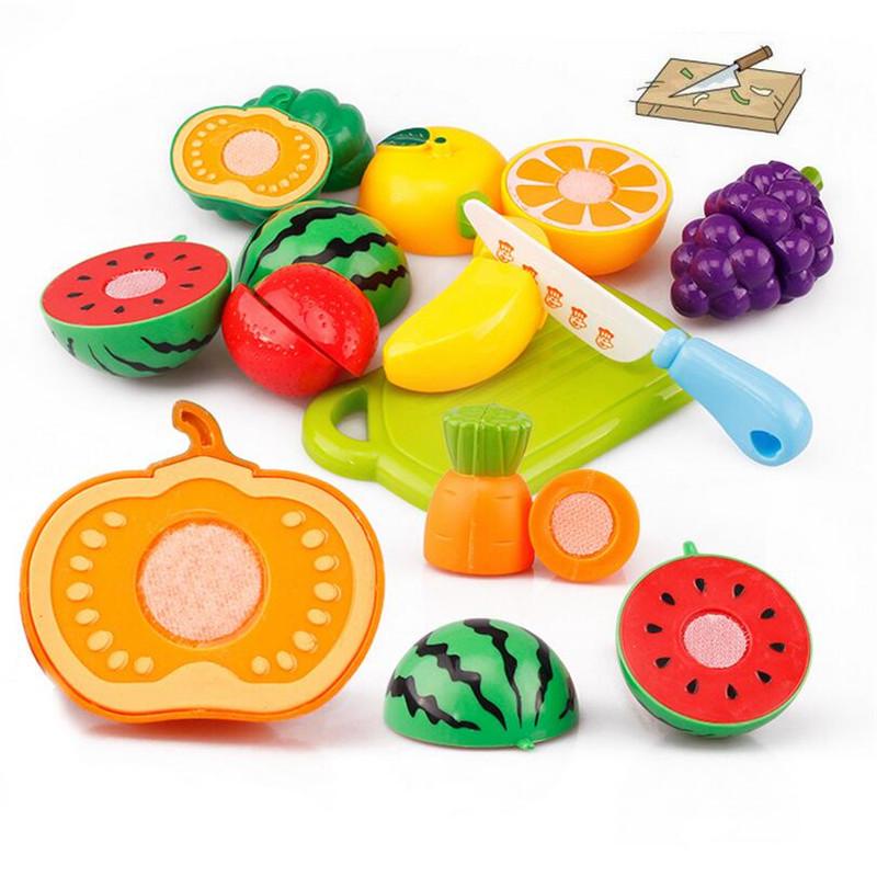 unidsset plstico de frutas vegetales de cocina de corte juguetes desarrollo temprano de