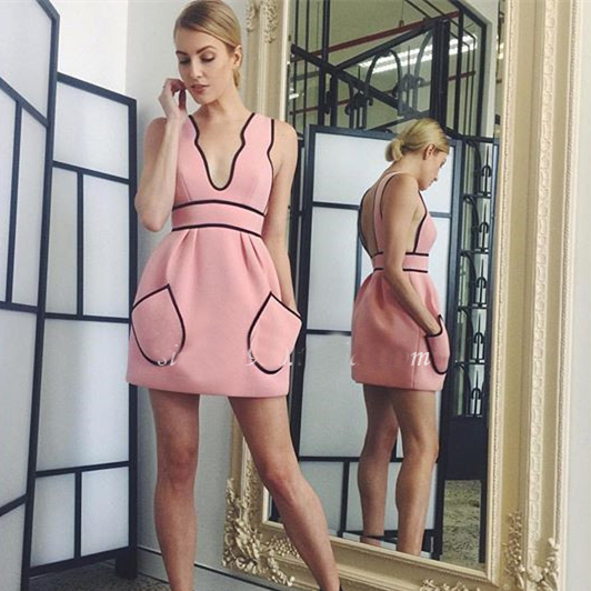 [Pre Sale] High Quality Alice 2016 V-neck Laciness Pocket A-line Dress Sleeveless Vest Sexy Slim One-piece Dress(China (Mainland))
