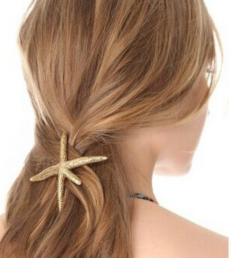 Hot Sell Metal Hair Accessories Starfish Hair Spring clip Fashion Hairpin Jewelry Wholesale XF2015070(China (Mainland))