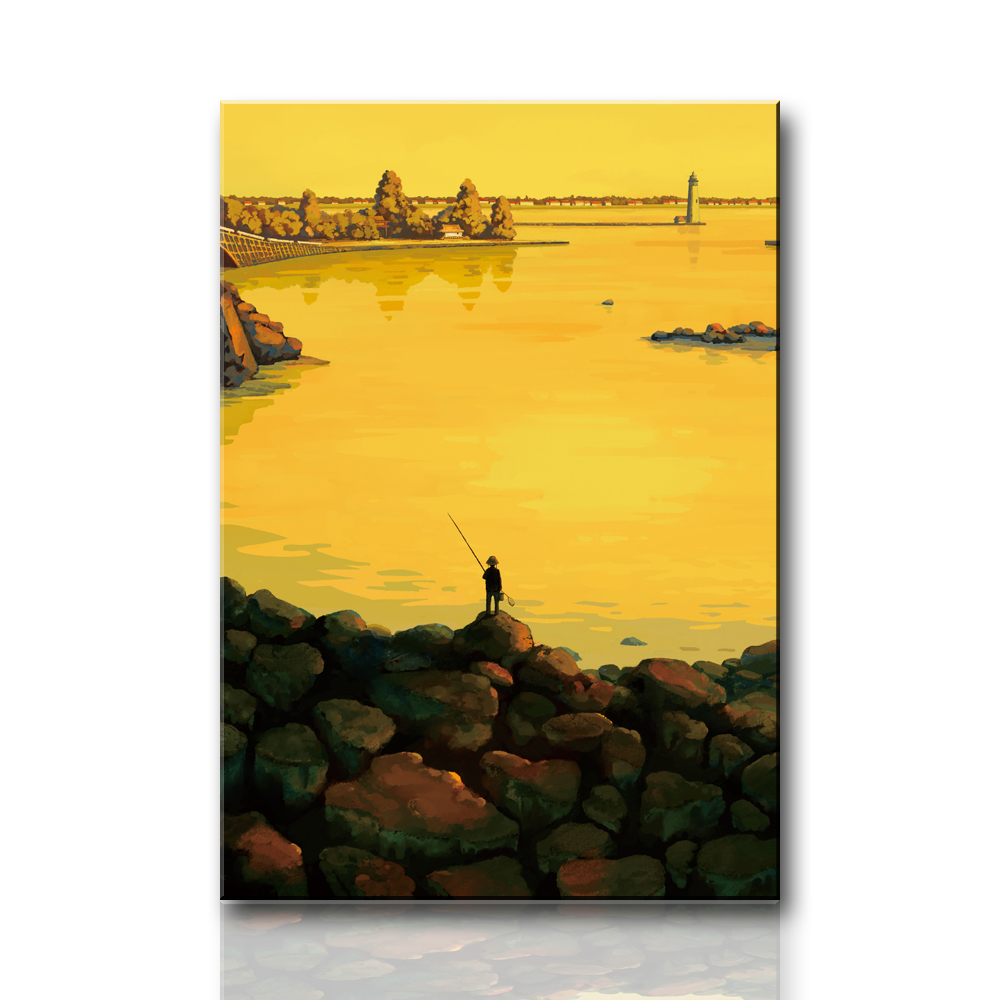 R709 Persistent fishing boy, large HD canvas print painting artwork, wall art picture photo for living room, wholesale drop ship