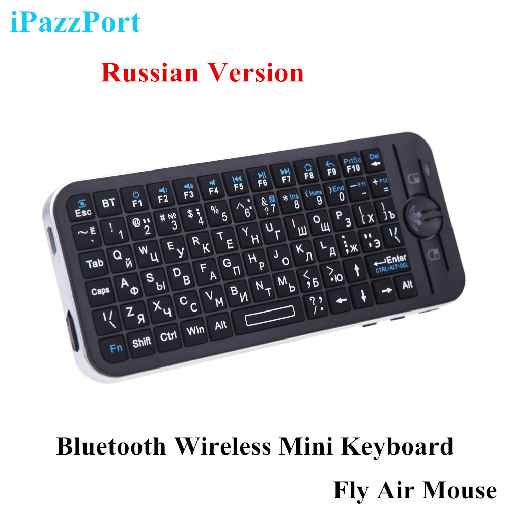Russian Version iPazzPort Bluetooth Wireless Mini Keyboard Fly Air Mouse Remote with Case for Apple TV Box(China (Mainland))