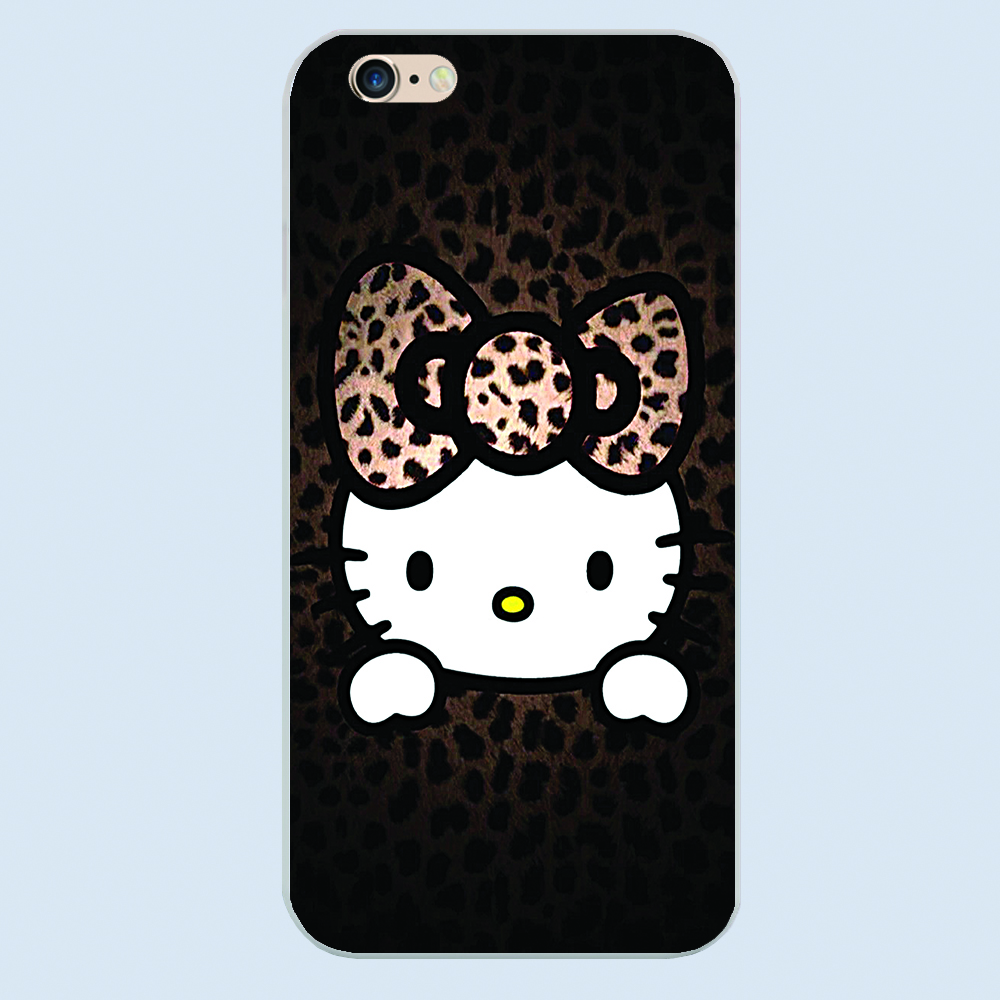 For cute hello kitty Transparent Black White skin hard case cover phone cases for Apple iphone 4 4s 5 5c 5s SE 6 6s 6splus(China (Mainland))