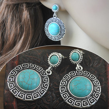 Vintage looking tibetan and turquoise round earrings E1610(China (Mainland))