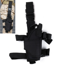 Tactical Adjustable Pistol Gun Drop Leg Thigh Holster Pouch Holder with Mag Pouch Right Hand Black