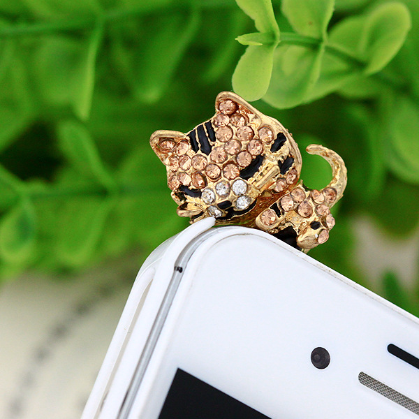 Cute Sleeping Cat Style Alloy and Rhinestones 3.5mm Cellphone Plug Dust Plug Earphone Jack Plug for Gifts(China (Mainland))