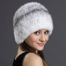 Lady Natural Hats Mink Fur Encryption Fashion Casual caps Hat Winter For Women Beanies Russian 100