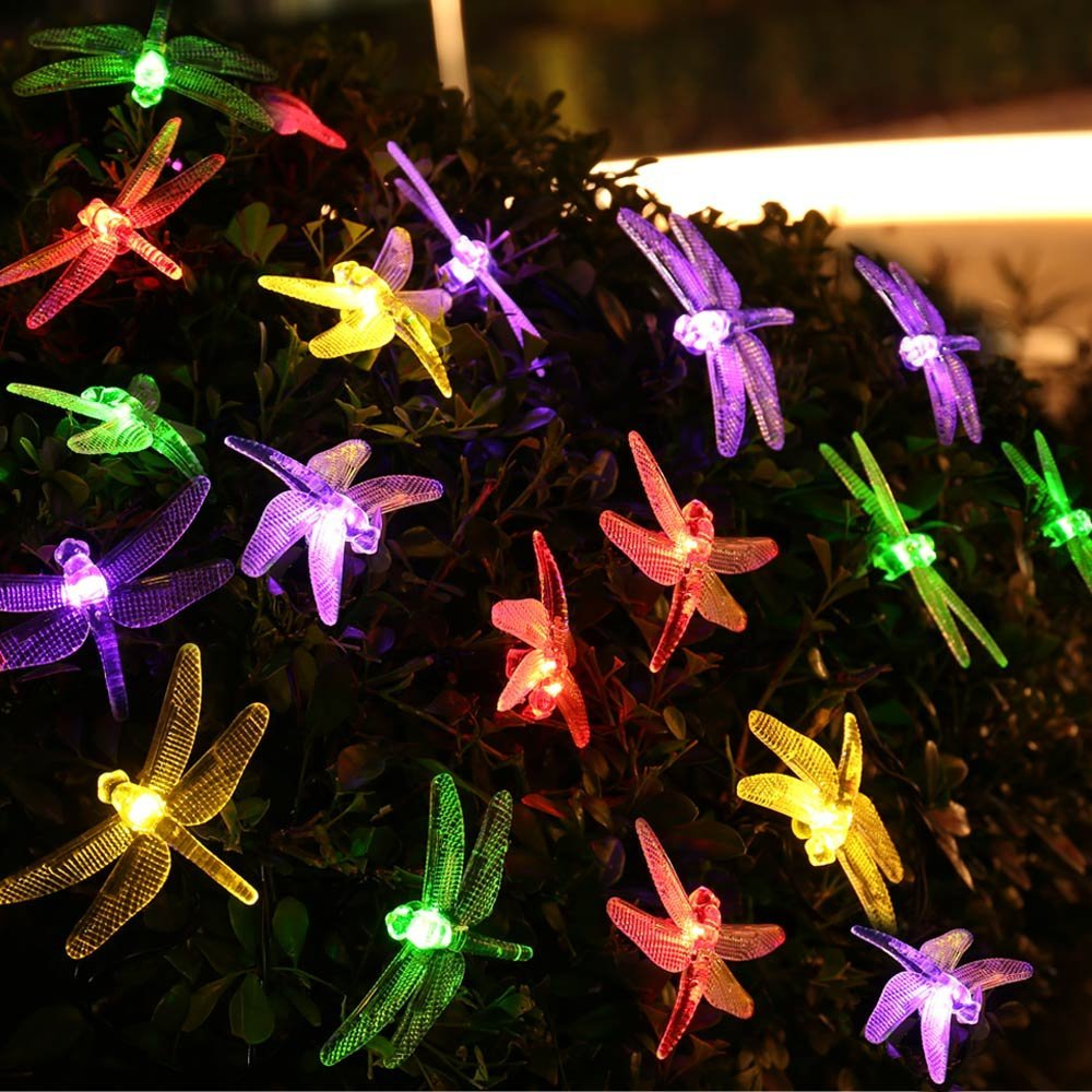 Dragonfly Solar Christmas Lights, 20ft 30 LED Waterproof Fairy Decoration Lighting for Indoor/Outdoor Home, Patio, Lawn, Garden(China (Mainland))