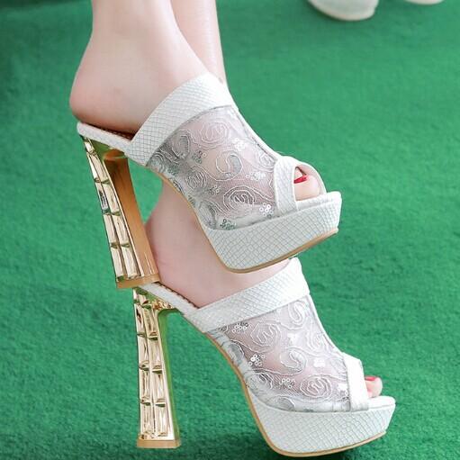 ENMAYER  Gold, silver, white high heels Sandals party shoes women SandalsBling platform Slides shoes summer fashion hot!<br><br>Aliexpress