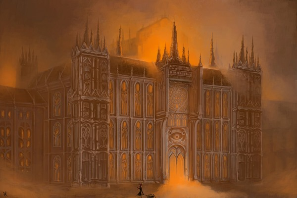 architecture Kaenbyou Rin Gothic digital art building painting Home Decoration Canvas Poster