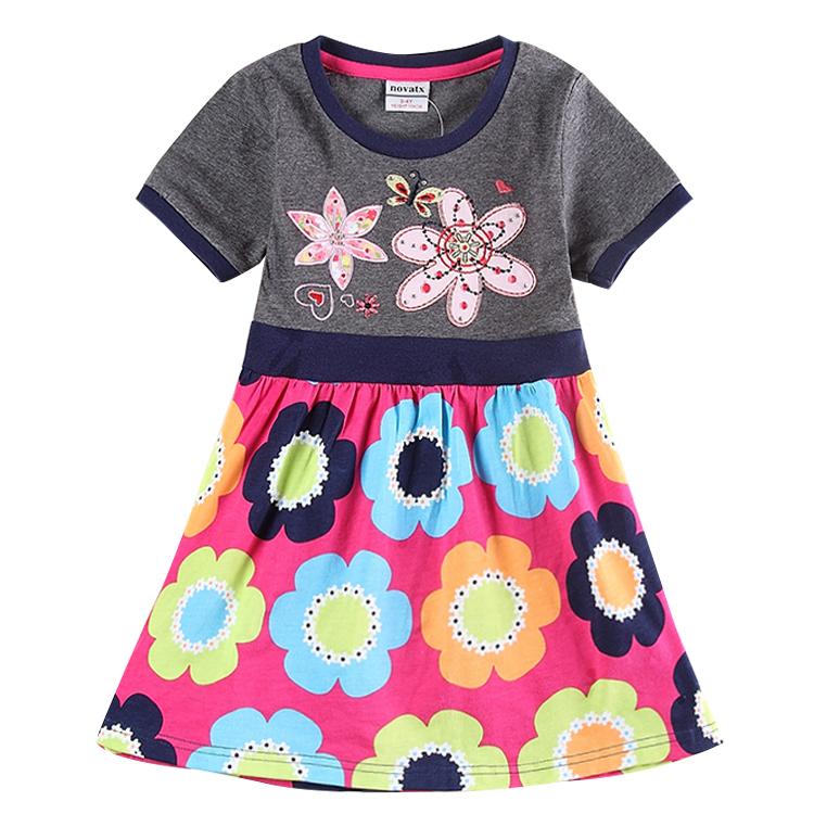 girls embroidrey flowers dresses children princess dress summer party evening 100% cotton dress for girls nova kids wear H5906
