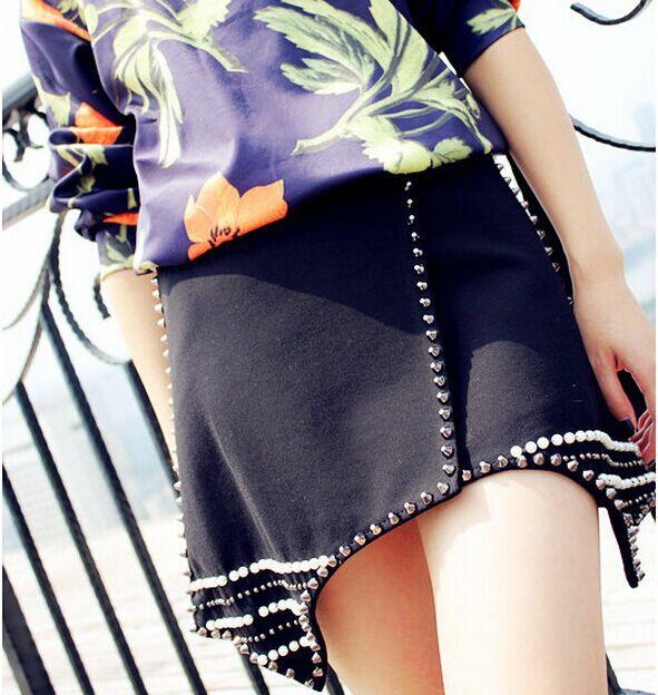 New 2015 Luxury Black Rivet Bead High Waist Skirt Irregular Skirts For Women DA002(China (Mainland))