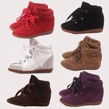 2016 Hot Bobby cuña zapatos mujeres del cuero genuino aumento de la altura en plataformas a gran bota zapatos casuales de calidad(China (Mainland))