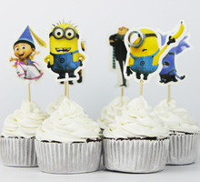 72pcs Event Party Supplies Cupcake Toppers Picks Despicable Me Wedding Decoration Girl Kids Birthday Party Decoration(China (Mainland))