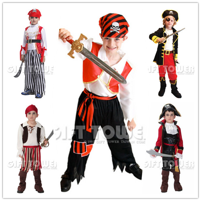kids boys pirate costumes/cosplay costumes for boys/halloween cosplay costumes for kids/children cosplay costumes(China (Mainland))