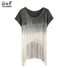 Dotfashion Simple Tassel Short Sleeve Color Block Casual New 2016 Tees Summer Style Ombre Fringe Crew Neck T-shirt(China (Mainland))