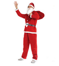 7pcs Christmas clothes TRICOT BRUSHED FABRIC Christmas Men Costumes Santa Claus Suit hat+beard+top+pants+belt+boots+backpack(China (Mainland))