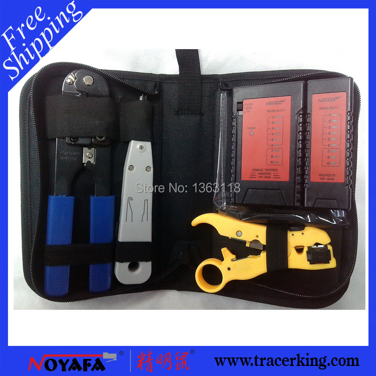 Network tool kit Wire stripper + network cable tester+ RJ45 Crimping tool +punch Down Tool free Shipping(China (Mainland))