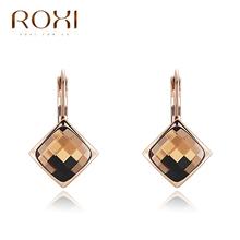 ROXI Hot Champagne Gold ear drop pattern Delicate Large zircon Earrings,Gift to girlfriend, handmade fashionable  Earrings(China (Mainland))