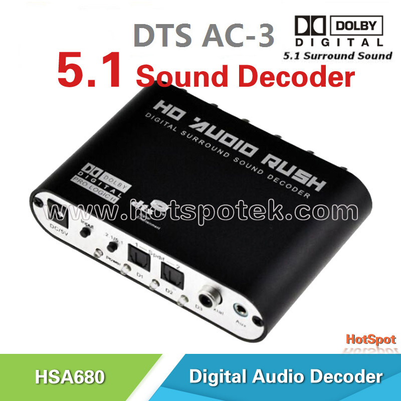 Wholesale AC3/DTS/Dolby Digital Audio 5.1 Decoder SPDIF/3.5mm Jack to 5.1/2.1 Channel Surround Sound Decoder For DVD Player, PS3(China (Mainland))