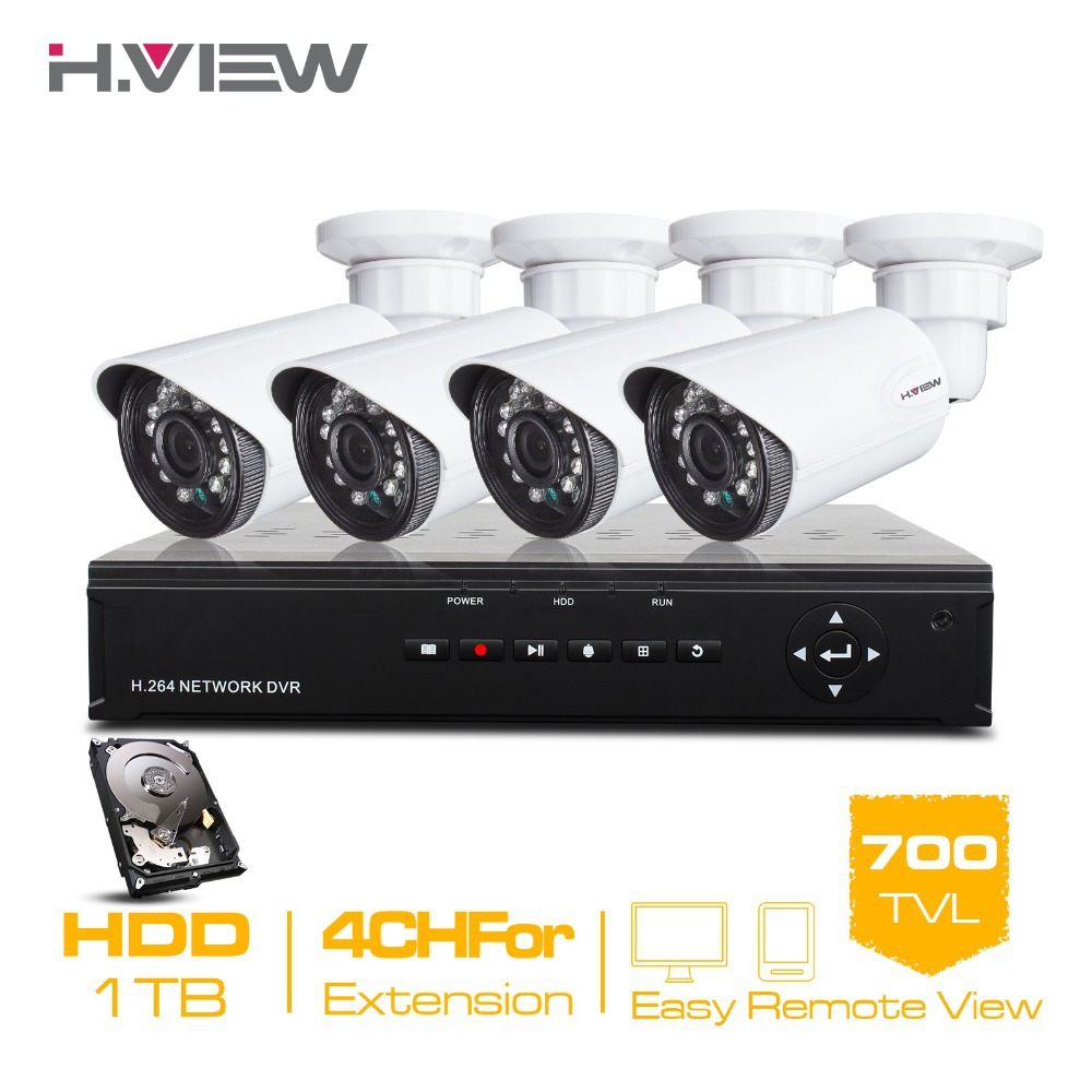 H.View 8 Channel HDMI DVR 1TB HDD 4 700TVL IR Security Camera 24 LEDs Home Security System Surveillance Kits 4CH CCTV System<br><br>Aliexpress