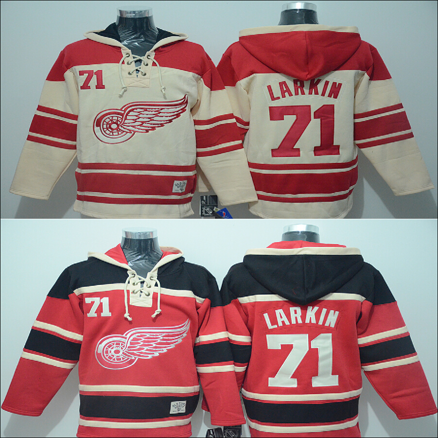 Discount Men's hoodie jerseys New Detroit Red Wings #71 Dylan Larkin Home Red sports jerseys china Hockey Sweatshirts