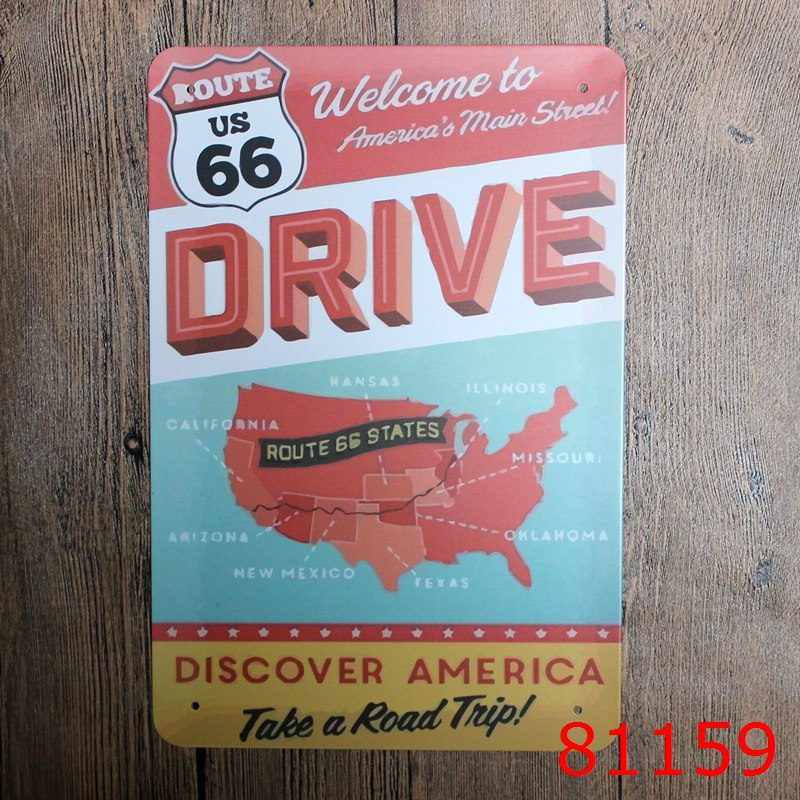 20X30cm Welcome To American Main Street 66 TIN SIGNS Metal Plaque Vintage Style Wall Sticker House Decor PUB wall decor(China (Mainland))